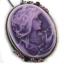 Antique Style Purple Oval Cameo Lady Necklace Pendant