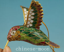 Lovely Chinese Old Cloisonne Handmade Carved Hummingbird Statue Pendant