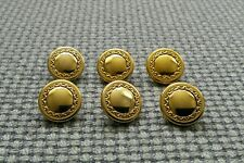 6 x Gold Tone Metal Look Buttons 16mm Vintage Gothic Steampunk Style