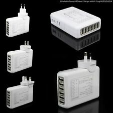6 Ports USB Multi 6A Adapter Travel Wall AC Charger with UK/EU/US/AU Plug White