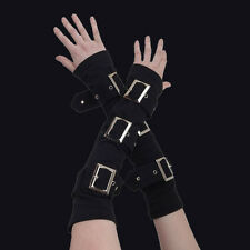 Queen of Darkness Black Arm Warmers with 3 large Buckles. Gothic. Lolita.