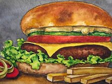 Painting Mc Donald's Meal Big Mac French Fry's Restaurant Fast Food 5x7 Art