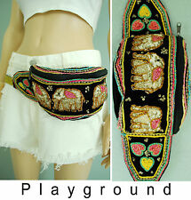 Vintage black velvet embroidered elephant hippie boho festival fanny pack