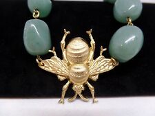 MANIC TROUT Genuine Green Aventurine Brass Bee Necklace Handmade in the USA!