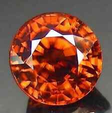 2.14 cts Natural Round-cut CognacRed-- Orange 100%color-changing VVS Zircon