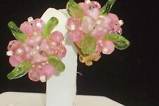 Signed Christian Dior Pink Flower Green Gripoix Glass Leaves Clip on Earrings