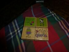 You Are The Queen / Friends RUBBER STAMP LOT Of 4 Mixed Ink Scrapbooking Stamps