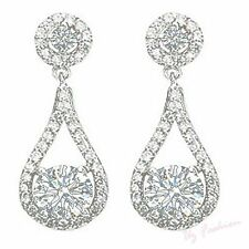 Beautiful Dangling Drop Diamante Rhinestones Crystal Wedding Silver Earrings