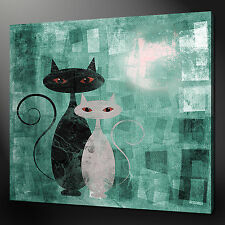 "CATS ART DECO TEAL AQUA CANVAS WALL ART PICTURES PRINTS 24""x24"" FREE UK P&P"