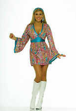 Womens 70's Wild Swirl Dress Hippie Disco Costume 60's Mod Adult Size XS/SM