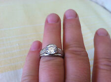 Platinum Designer Engagement Ring Bezel Custom Made USA sz 7.75  Valentine GIFT