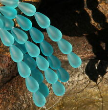 Frosted Tear Drop Beads~ 1 String of 6 Beads~16 x 10 mm  TURQUOISE BAY