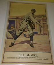 """RARE 1928 BOSTON BRAVES PLAYER BILL MCAFEE FRENCH POSTER 10-3/8"""" x 16-3/8"""""""