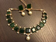 Indian Bollywood Kundan Choker Necklace with Earring Set Green Bridal Jewellery