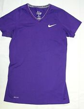 Womens Nike Pro Combat Athletic Shirt SM S Purple Fitted Dri Fit H28