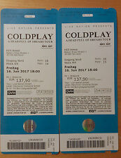 2x COLDPLAY Hannover, HDI Arena, 16.06.17, Sitzplätze Block W4, Reihe 18, 14+15