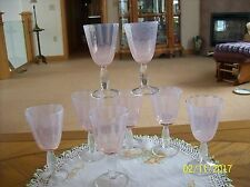 Champagne Pink Vintage Ribbed Bubble Glass Set Of 8 Stemmed Footed Globet's