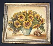 Herrlich opulentes Blumenstillleben Sonnenblumen. Ölgemälde signiert HANS HENNE