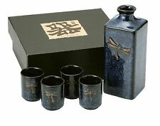 Japanese Dragonfly Porcelain Sake Set Bottle Cup BD7-N
