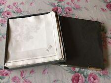 Vintage DAMASK NAPKINS Linen MONOGRAM J W or L W Hemstitched  *8 IN BOX* Germany