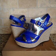 UGG JACKILYN INK BLOT BLUE PATENT LEATHER STRAPPY WEDGE SANDALS HEELS US 8