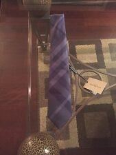 New Authentic Burberry Nova Check Logo Men Tie Haymarket Navy Blue Slim $220