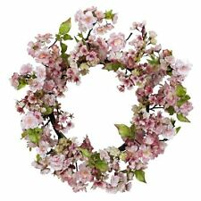 Nearly Natural 4783 Cherry Blossom Wreath- 24-Inch- Pink