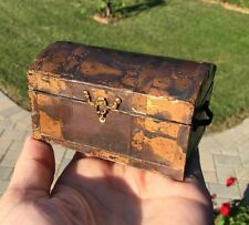 Large Steamer Trunk Hinged Curved Lid Treasure Chest Travel Dollhouse Miniature