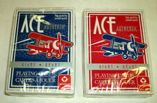 2 Decks Red & Blue ACE Playing Cards by Cartamundi USA GIANT Large Index LOT NEW