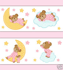 Pink Teddy Bear Wallpaper Border Wall Decal Cloud Star Moon Girl Nursery Sticker