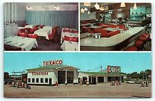 Postcard ND Tower City Truck Stop Tower Texaco Gas Service Station Cafe 50's R39