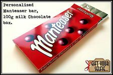 Personalised 100g Manteaser milk Chocolate box, Great Gift Idea.