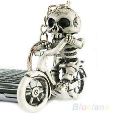 Soñaba con bicicleta delicado cráneo esqueleto bolso bolso goma Keychain Keyring