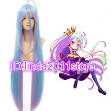 Anime No Game No Life Shiro 100cm Mixed Blue&Purple Fade Cosplay + Free wig cap