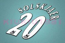 Manchester United Solkjaer #20 PREMIER LEAGUE 97-06 White Name/Number Set