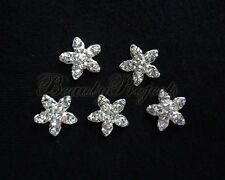 (5pcs) nail art silver 3D flower charm rhinestone charms acrylic nails gel A194