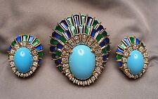 1960s Jomaz Enamel & Faux Turquoise Peacock Feather Motif Brooch & Earrings Set