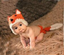 Newborn Baby Cartoon Fox Crochet Knitted Photography Props Costume Outfit Set