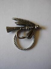 Pewter Fishing Fly Brooch drop hoop Holder For Glasses , Pen , ID jewellery cw3