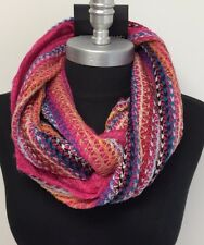 Women Winter knitted Crochet 2-Circle Cowl Infinity Scarf Wrap Pink/Multi-Color