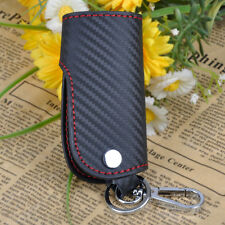Universal Carbon Fiber Leather Smart Real Remote Key Fob Chain Cover Holder