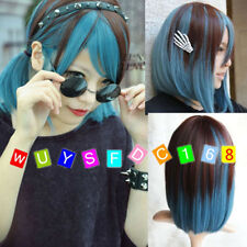 Popular Cute New LOLITA Brown & Blue Color Cosplay Curly Short Straight Hair Wig