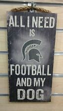 MICHIGAN STATE SPARTANS FOOTBALL DOG WOOD SIGN 6X12 w/hanging rope FREE SHIP