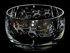 *SANTA & SLEIGH* Boxed 12.5cm CRYSTAL GLASS SWEET BOWL with CHRISTMAS design