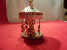 Horse Carousel Pendant, White Austrian Crystal Accents, Rose Gold Over Stainless
