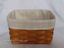 Custom Pastel Plaid Liner for Longaberger Large Recipe Basket - LINER ONLY