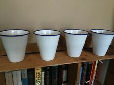 Set Of 4 Vintage Blue & White Enamelware Cups Enamel Tin 10-12oz Lot of Cups GUC