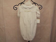 Petit Ami Newborn Boys White Baby Gown w/Train Embroidery and Cap