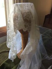"Vintage Lace Bridal Veil and ""Pearl"" Headpiece 1967"