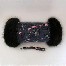 Vintage Style Blue Paisley & Pink Roses Black Faux Fur Trimmed Hand Muff Warmer
